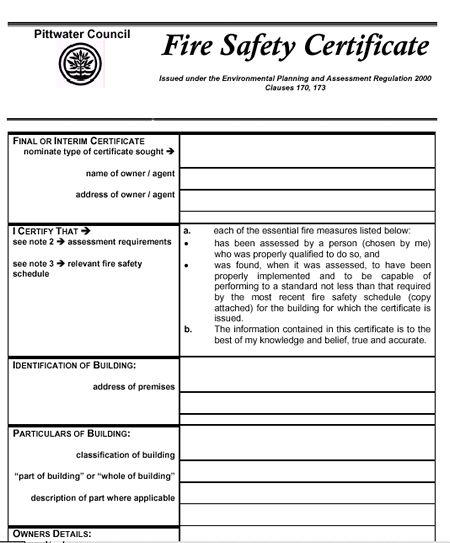 Fire safety compliance nsw preparation for earthquakes in for Fire alarm installation certificate template