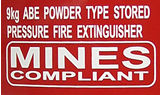 Mines compliant fire extinguisher