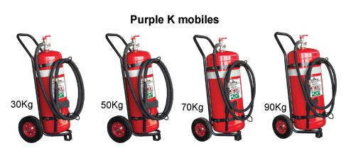 Purple K extinguishers on wheels